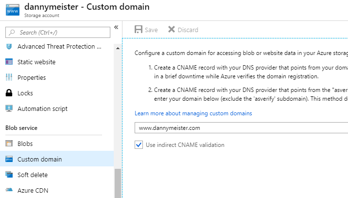 azure portal custom domain